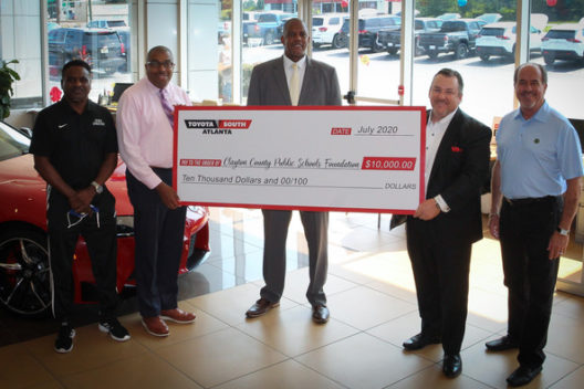 Clayton County Public Schools receive a donation for $10,000 from Toyota South Atlanta. Pictured from left to right; Assistant Superintendent Dr. Anthony Smith, Superintendent Dr. Morcease Beasley, Office of the Deputy Superintendent Government Relations Partnerships and Grants Lonnie Smith, Toyota South Atlanta General Manager/VP Rich Mahon and Jerry Gresham, Toyota South Atlanta, President.
