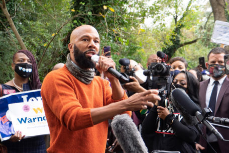 Rapper Common marched to the polls in Clayton County, GA.